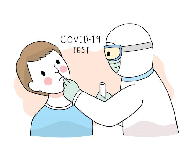 Cartoon schattig coronavirus, covid-19, arts en patiënt