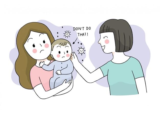 Cartoon schattig coronavirus, covid-19, moeder en baby