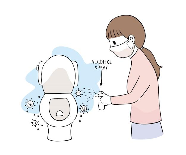 Cartoon schattig coronavirus, covid-19, vrouw en alcohol spuiten toilet opruimen