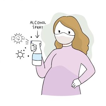 Cartoon schattig coronavirus, covid-19, zwangere vrouw en alcoholspray
