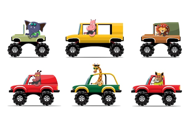 Cartoon schattig dier rijden auto op de weg animal driver