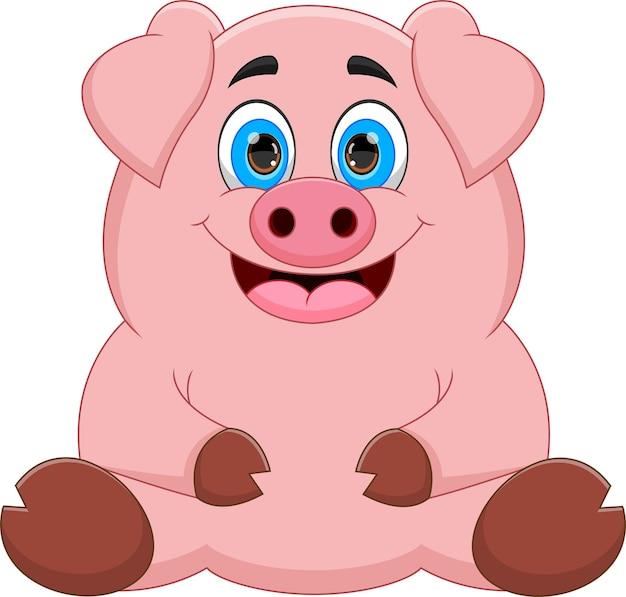 Cartoon schattig dik varken poseren zittend op een witte achtergrond