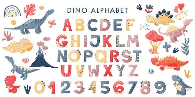 Cartoon schattig dinosaurus alfabet. dino-lettertype met letters en cijfers. kinderen vectorillustratie voor t-shirts, kaarten, posters, verjaardagsfeestjes, papierontwerp, kinder- en kinderkamerontwerp