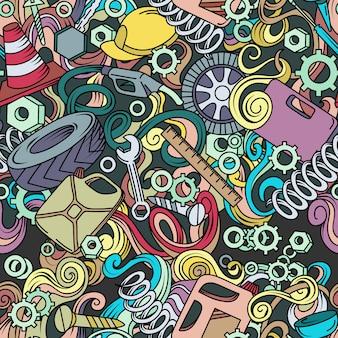 Cartoon schattig doodles hand getekende auto service naadloze patroon.