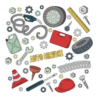 Cartoon schattig doodles hand getrokken auto service illustratie.