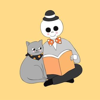Cartoon schattig halloween kat en schedel leesboek vector.