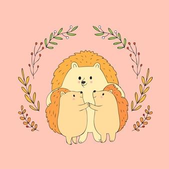 Cartoon schattig herfst familie egel vector.