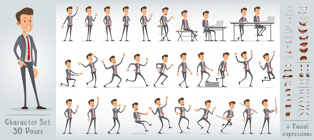 Cartoon schattig kantoor jongen tekenset groot