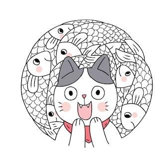 Cartoon schattig kat en vis vector.