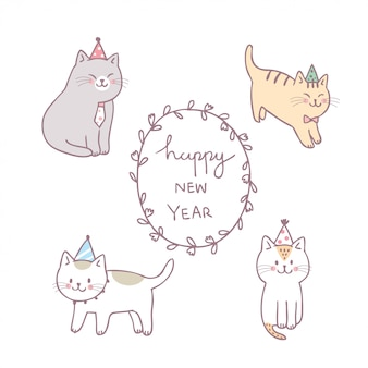 Cartoon schattig kat gelukkig nieuwjaar vector.