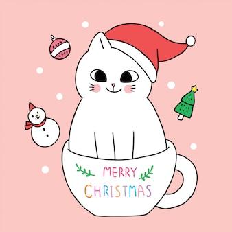 Cartoon schattig kerst kat en koffiekopje.