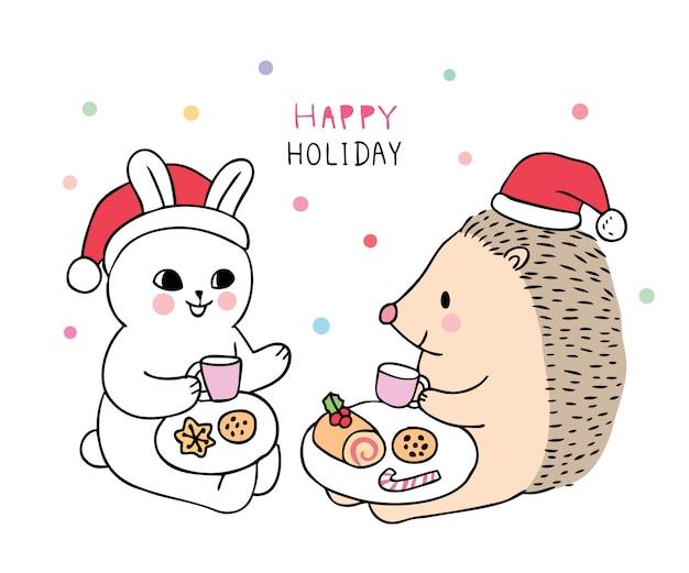 Cartoon schattig kerst konijn en egel zoet eten.