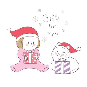 Cartoon schattig kerst meisje en kat en geschenken vector.