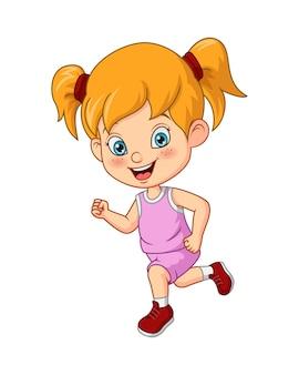 Cartoon schattig klein meisje rennen