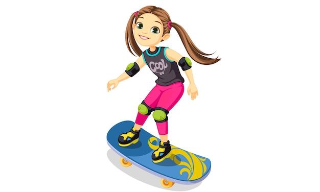 Cartoon schattig klein meisje schaatsen illustratie