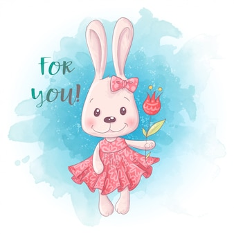 Cartoon schattig konijntje meisje met bloemen.