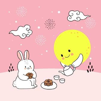 Cartoon schattig medio herfst konijn en maan