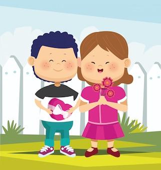 Cartoon schattig meisje en jongen verliefd permanent over witte hek