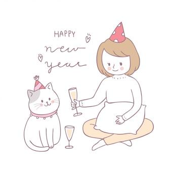 Cartoon schattig meisje en kat vieren vector.
