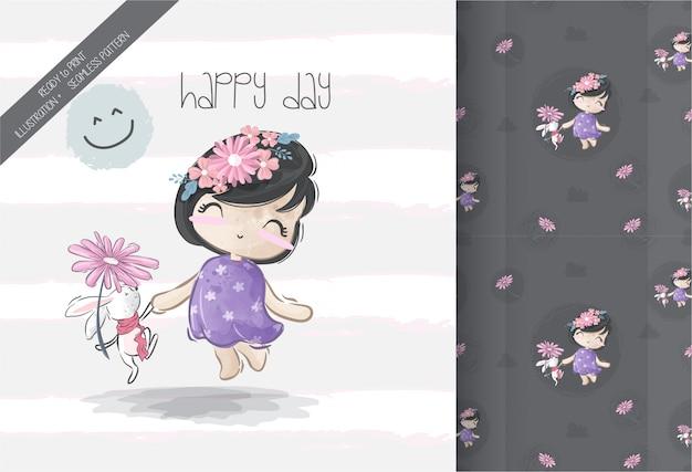 Cartoon schattig meisje met baby muis naadloze patroon