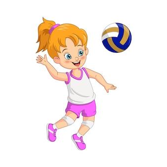 Cartoon schattig meisje volleyballer