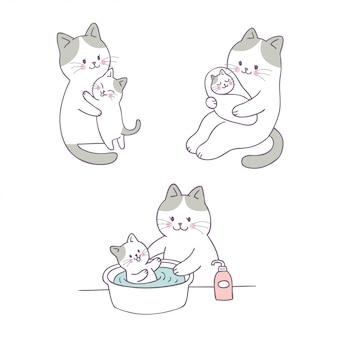 Cartoon schattig moeder en baby kat vector.