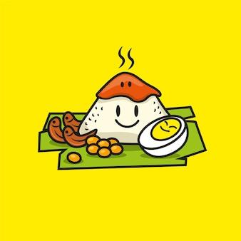 Cartoon schattig nasi lemak eten
