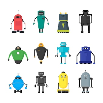 Cartoon schattig speelgoed robots kleur icons set vlakke stijl futuristische ontwerpelementen. vector illustratie