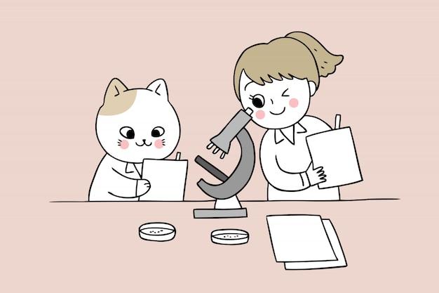Cartoon schattig terug naar school kat en meisje in wetenschap klas