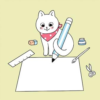Cartoon schattig terug naar school kat schrijfpapier