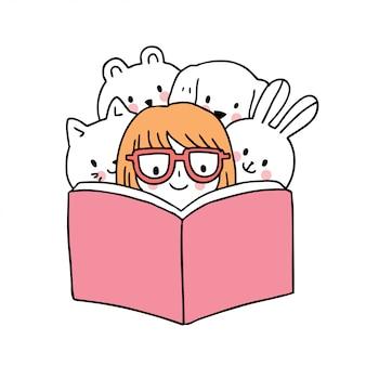Cartoon schattig terug naar school meisje en dieren leesboek.