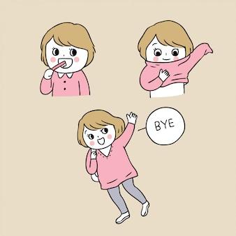 Cartoon schattig terug naar school meisje