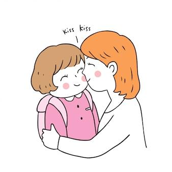 Cartoon schattig terug naar school moeder en dochter kussen.