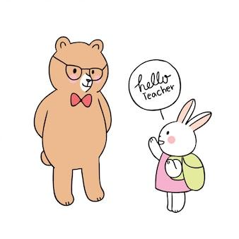 Cartoon schattig terug naar schoolleraar beer en konijn