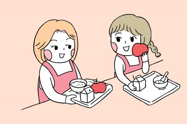 Cartoon schattig terug naar schoolmeisjes in kantine