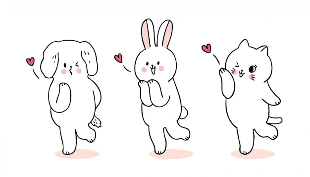 Cartoon schattig valentijnsdag kat en hond en konijn en kus vector.