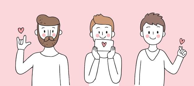 Cartoon schattig valentijnsdag mannen en liefde vector.