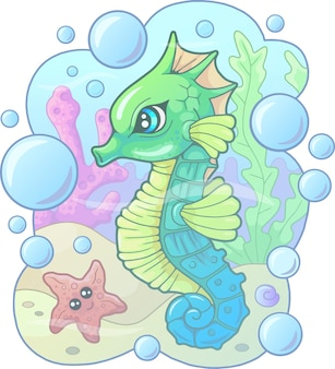 Cartoon schattig zeepaardje met bubbels en sterren