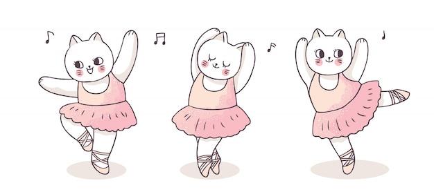 Cartoon schattige acties ballerina katten dansen