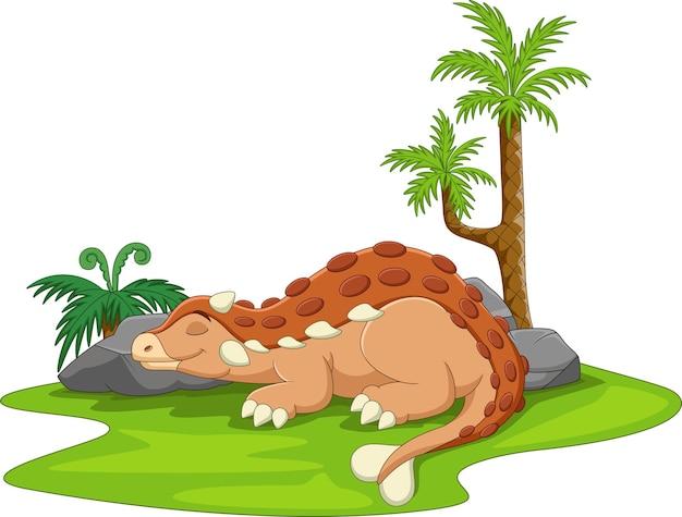 Cartoon schattige ankylosaurus dinosaurus slapen