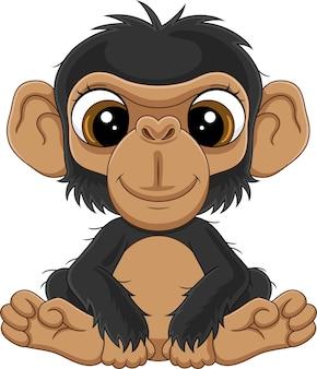Cartoon schattige baby chimpansee zittend