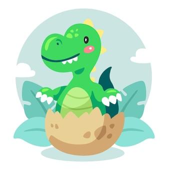 Cartoon schattige baby dinosaurus geïllustreerd
