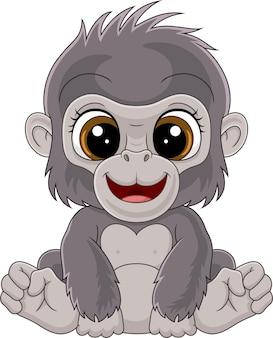 Cartoon schattige baby gorilla zitten