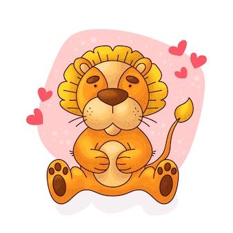 Cartoon schattige baby leeuw.