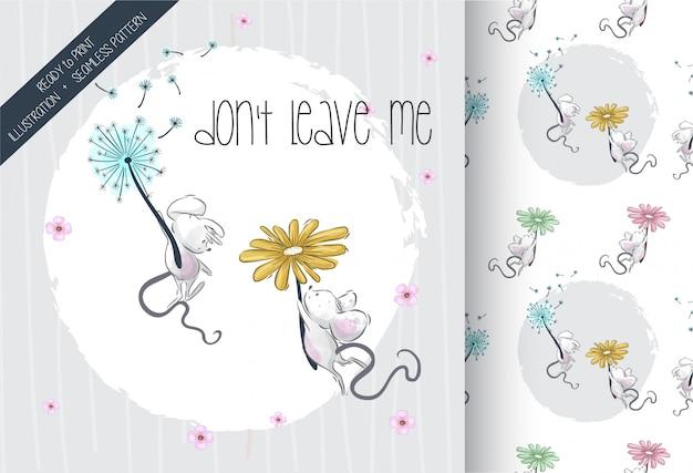Cartoon schattige baby muis bloemen vliegen naadloos patroon