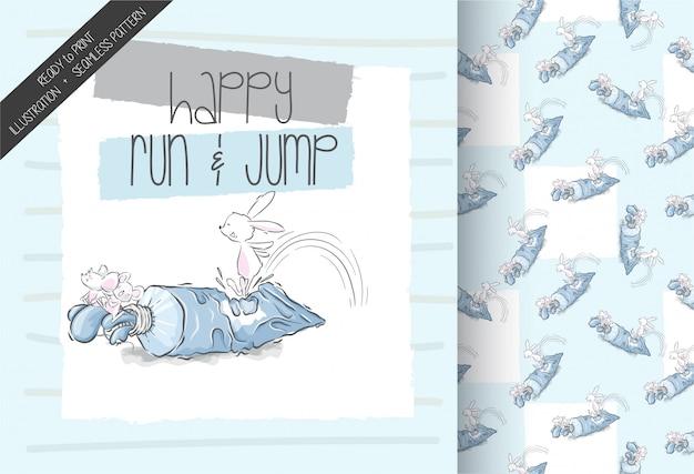 Cartoon schattige baby muis spelen naadloze sprongpatroon