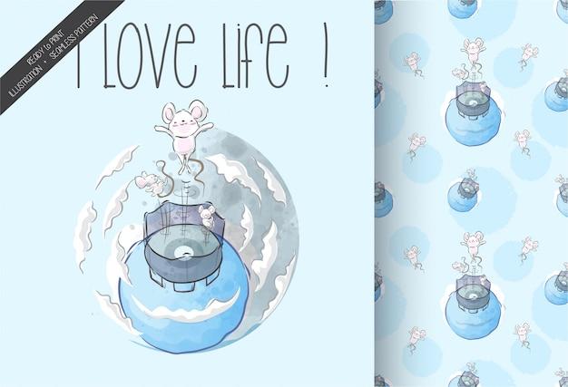 Cartoon schattige baby muis sprong met trampoline naadloze patroon