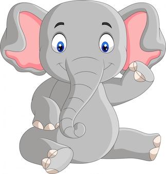 Cartoon schattige baby olifant zitten