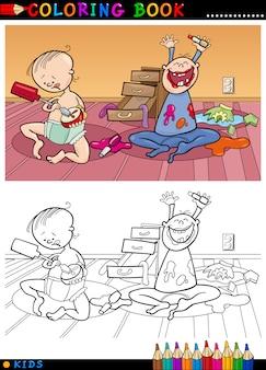 Cartoon schattige baby's om in te kleuren
