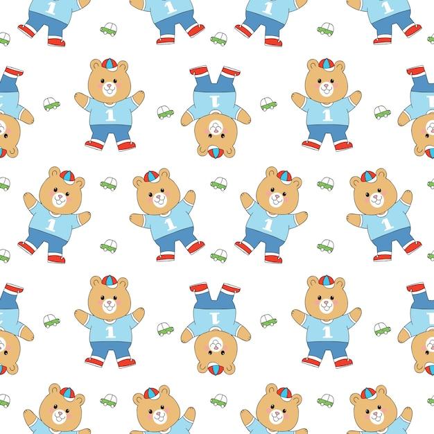 Cartoon schattige beer en speelgoed naadloze patroon vector.